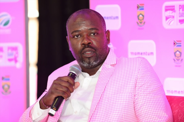 Thabang Moroe (Acting CEO Cricket South Africa) during the Momentum ODI Pink Day Launch at Bidvest Wanderers on January 18, 2018 in Johannesburg.