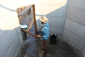 Photo: And testing out the acoustics of the cellar. Which will be sound-proofed. (just kidding)