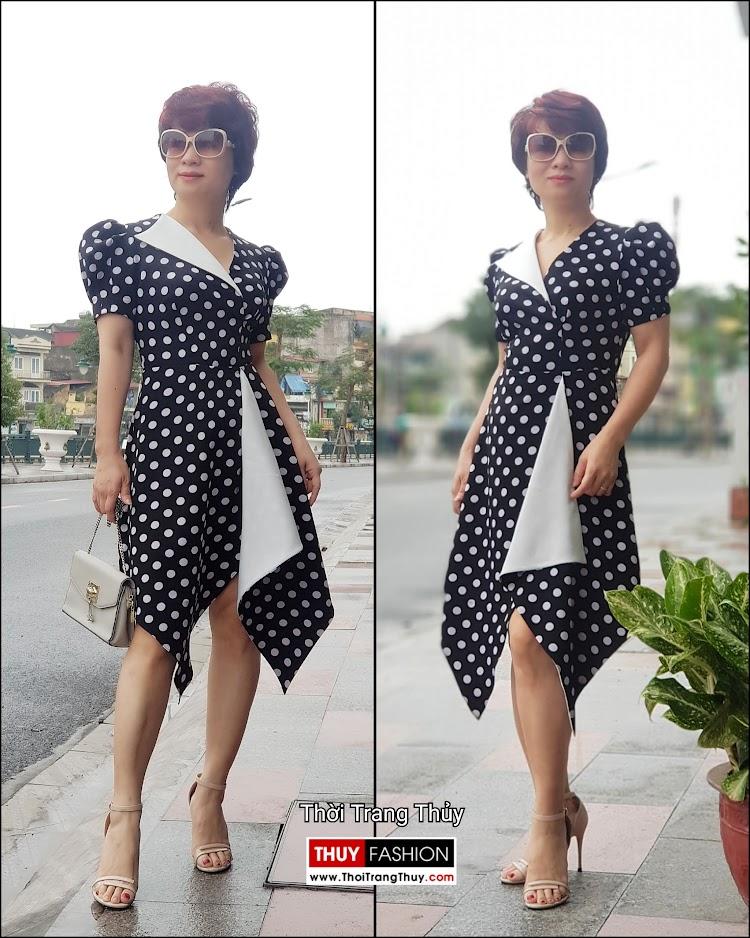 Váy xòe chấm bi công sở và dạo phố màu đen trắng V698 thời trang thủy đà nẵng