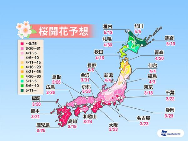 日本, 櫻花, 花見, 2019, 櫻花預測