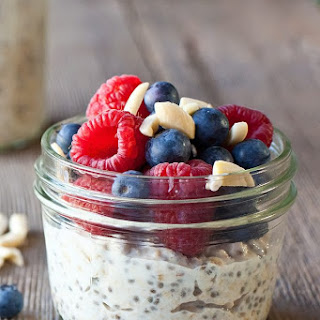 Overnight Oat and Chia Pudding with Cardamom Berries.