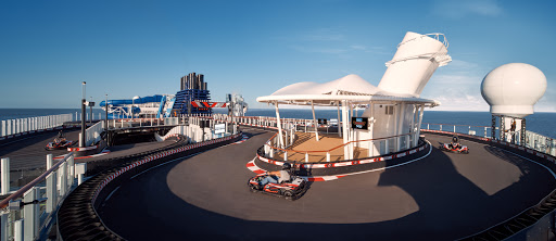 Whip around the 1,100-foot Speedway on Norwegian Encore, the largest race track at sea.