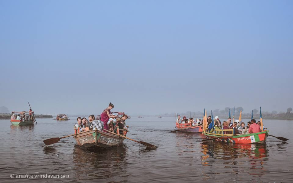 Devotees of Indradyumna Swami's Parikrama group on boat ride to Saubhari Muni Ashram