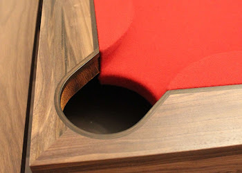 Top View of Spartan Pool Table Corner Pocket with red felt