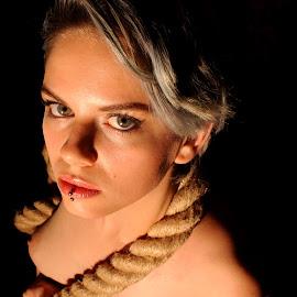 by DJ Cockburn - Nudes & Boudoir Artistic Nude ( studio, grey eyes, woman, art nude, cannon ball, rope, model, estrany, nude )