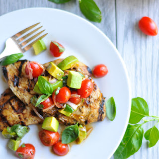 Balsamic Grilled Chicken with Avocado Cherry Tomato Salad