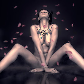 Scent of a Woman by Raymund Evangelista - Nudes & Boudoir Artistic Nude ( rose, nude, petals, tattoos, artistic, scent )