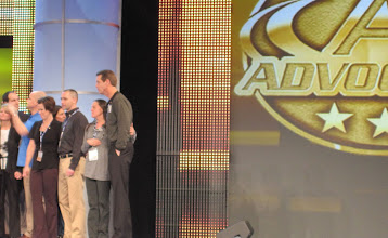 Photo: J.D. & Jo Biggs on Stage Feb 2011 for 3 Star Gold Pin