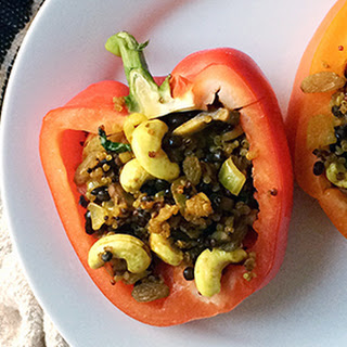 Moroccan-Spiced Lentil Stuffed Peppers.