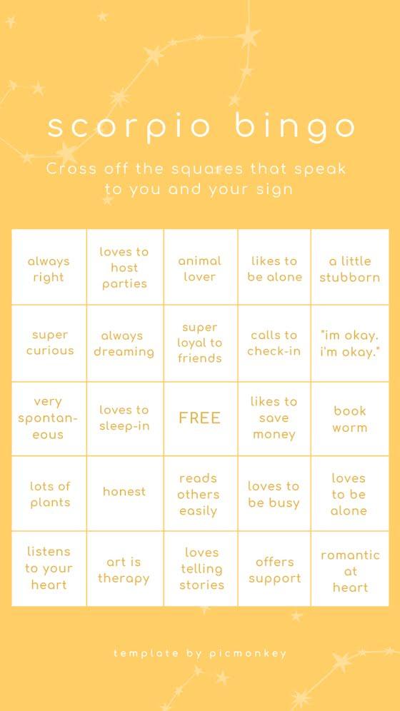 Scorpio Bingo - Facebook Story Template