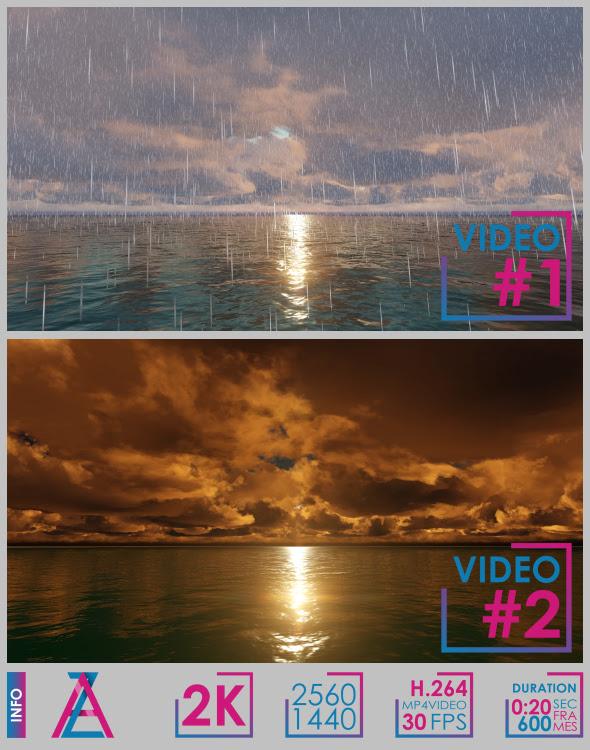 Sun Rain Clouds Ocean - 1