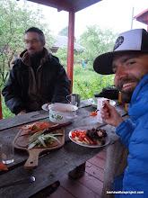 Photo: Matt enjoys some Russian Shashlik (kebab)