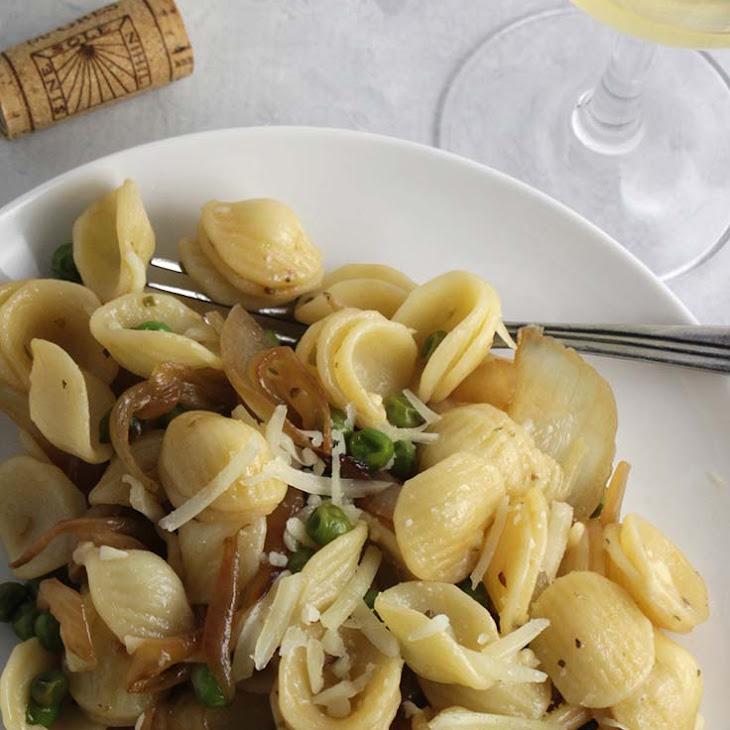 Orecchiette with Peas, Pecorino and Onions