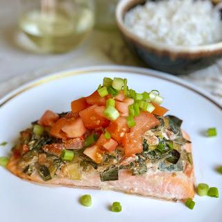 Spinach Dip Salmon Bake.