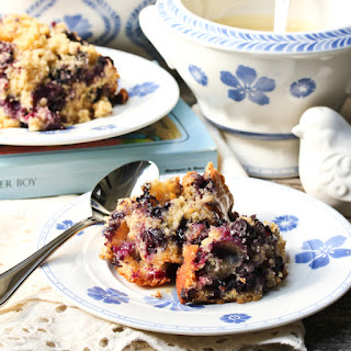 Old Fashioned Blueberry Pudding with Rosewater Sauce.
