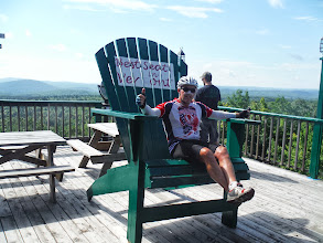 Photo: Day 53 August 10 Bennington To Brattleboro VT Tom tries out chair