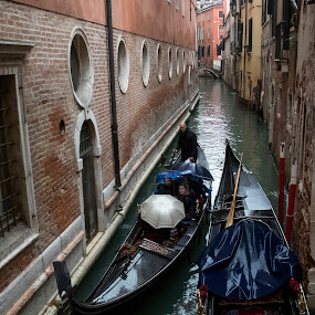 by Serguei Ouklonski - City,  Street & Park  Street Scenes ( home, old, transportation system, stone, architecture, house, travel, people, historic, city, venetian, gondola, sky, ancient, watercraft, veneto, weather, italy, rain, water, vessel, building, tourism, traditional, scenic, boat, canal, tourist, gondolier, outdoors )