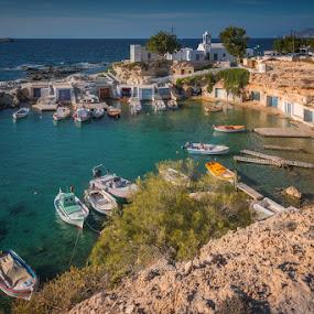 Milos Island - The Fisherman Quay by Krasimir Lazarov - City,  Street & Park  Vistas ( greece, island, quay, tourism, boats, bay, fisherman )