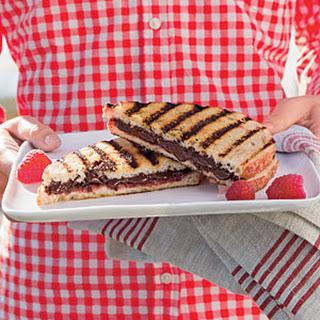 Grilled Chocolate-Raspberry Dessert Sandwiches.