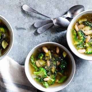Green Minestrone Soup with Parmesan & Fresh Dill.