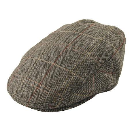 Tweed Flat Cap brun/grå