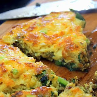 Sausage, Onion and Spinach Fritatta,.