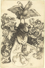 Photo: Albrecht Dürer (German, 1471 - 1528 ), Coat of Arms with a Lion and a Cock, 1502/1503, engraving, Rosenwald Collection