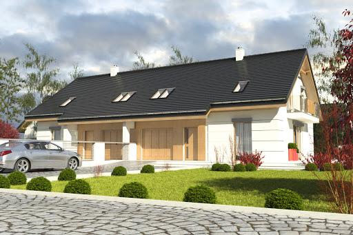 projekt Nowinka VI z garażem 1-st. bliźniak A-BL1