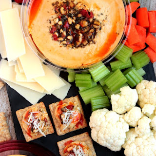 Healthy Snack Plate with Hummus Cracker Bites.