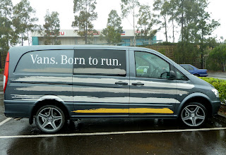 Photo: The new Mercedes Benz tagline. Vans. Born to run. Vehicle Advertising for the Mercedes Brand. http://www.decentlyexposed.com.au/autoskin/?p=11326&preview=true