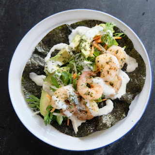 Prawn and Asian Salad Nori Wrap.