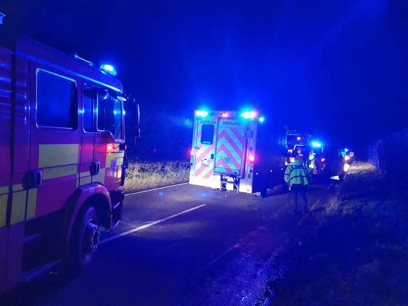 One rescued from Guilsfield road crash