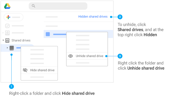 Right-click on left to hide. To unhide, click Shared drives, Hidden shared drives, then right-click folder for Unhide option