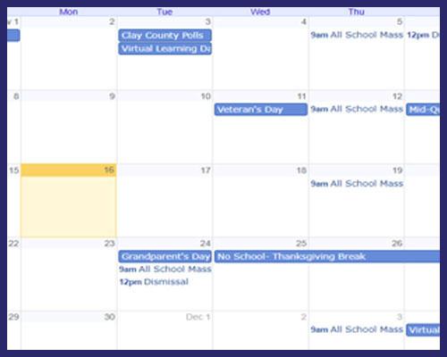 Borromeo Academy School Calendar Image