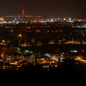 Portsmouth by night by Marc Lawrence - City,  Street & Park  Night ( lights, street, long exposure, night, cityscape )