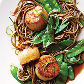 Soy Citrus Scallops with Soba Noodles.