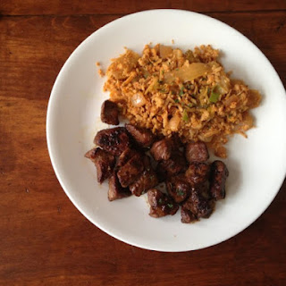 Paleo Kimchi-Bacon Fried Cauliflower Rice with Chinese Five-Spice Pork Roast