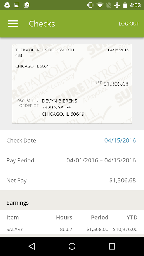 SurePayroll for Employees- screenshot