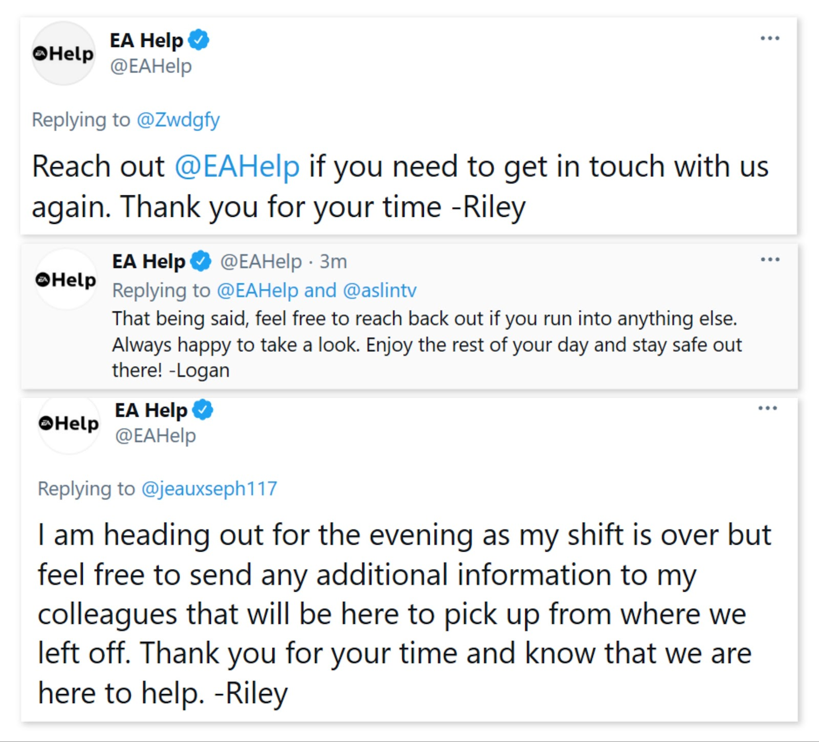 EA help closing interactions with customer on twitter