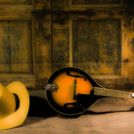 The Mandolin Player by Daryl Peck - Artistic Objects Musical Instruments ( studio, canon, music, cowboy, still life, mandolin, artistic objects, instrument, country, hat )