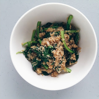 One-pot Quinoa & Tatsoi (or Other Greens).