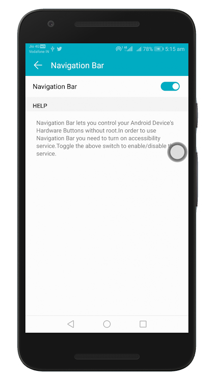 Navigation Bar (Back,Home,Recent,Power Button) – (Android