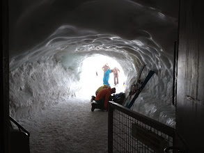 Photo: Tunnel out from top to Valle du Blance (note crampons, harnesses and ropes)