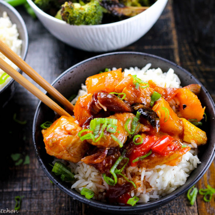 Roasted Vegetable Sweet and Sour Chicken