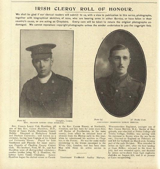 Photo: Revd Francis Lowry Cole Hamilton & Lieut. Frederick Audley Mervyn, 3 December 1915