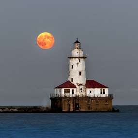Lighthouse Moon by John Harrison - Landscapes Waterscapes
