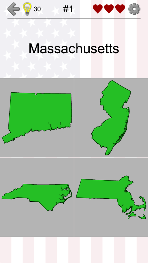 US States Map Capitals Flags American Quiz Android Apps - Fifty us map game