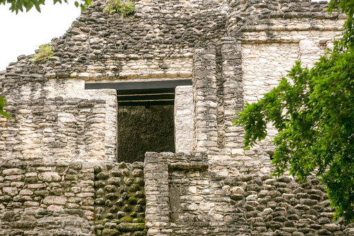 The side of a structure at the Mayan ruins of Dzibanche in Mexico's Yucatan.