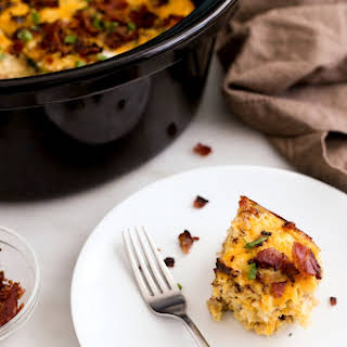 Slow Cooker Bacon, Egg & Hash Brown Casserole.