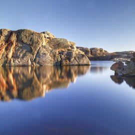 Great day at the seaside Smögen Sweden by Eva Larsson - Landscapes Waterscapes ( sea water cliffs rocks still peaceful blue sweden reflection mother earth )